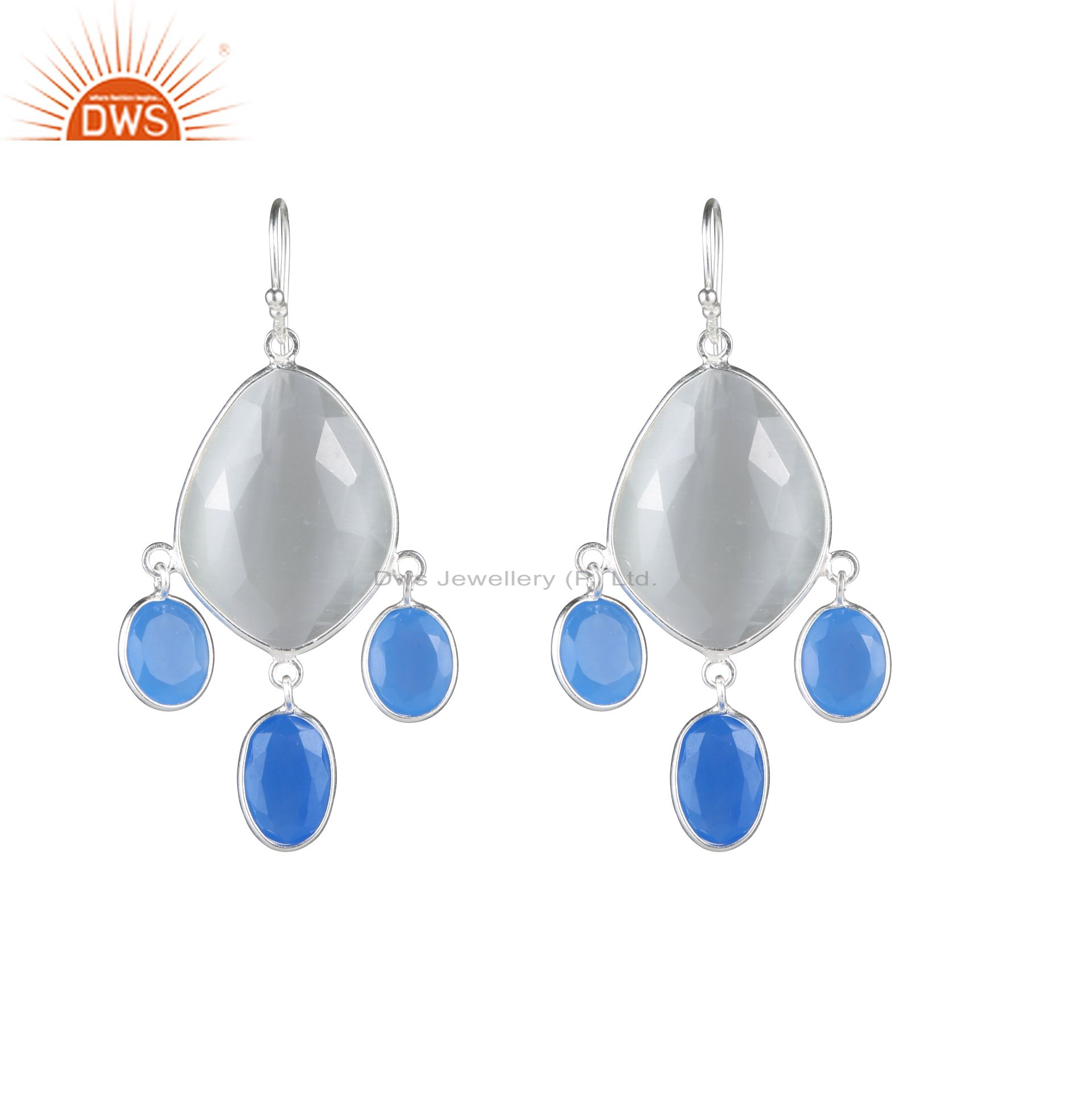 925 Sterling Silver Blue Chalcedony And White Moonstone Chandelier  Earrings