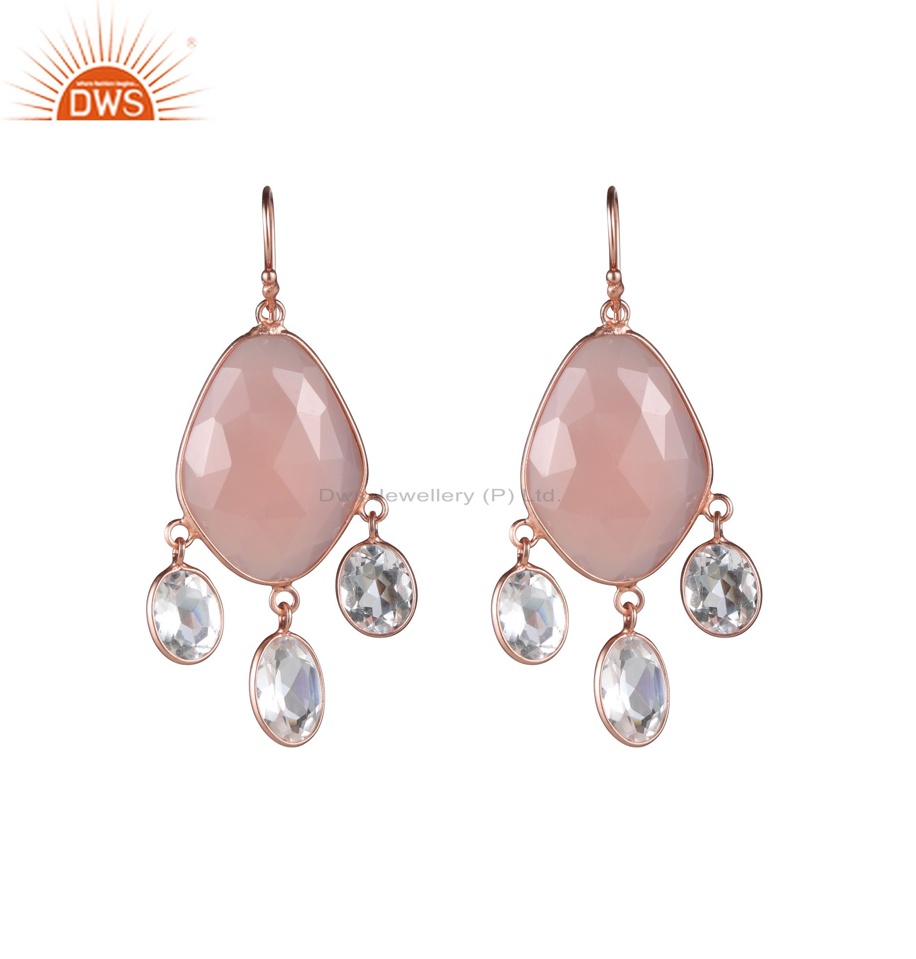 18K Rose Gold Plated Sterling Silver Rose Chalcedony And Crystal Dangle Earrings