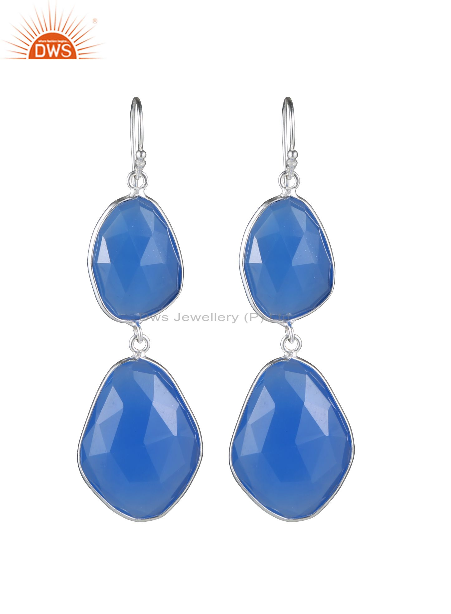 925 Sterling Silver Blue Chalcedony Gemstone Bezel Set Double Dangle Earrings