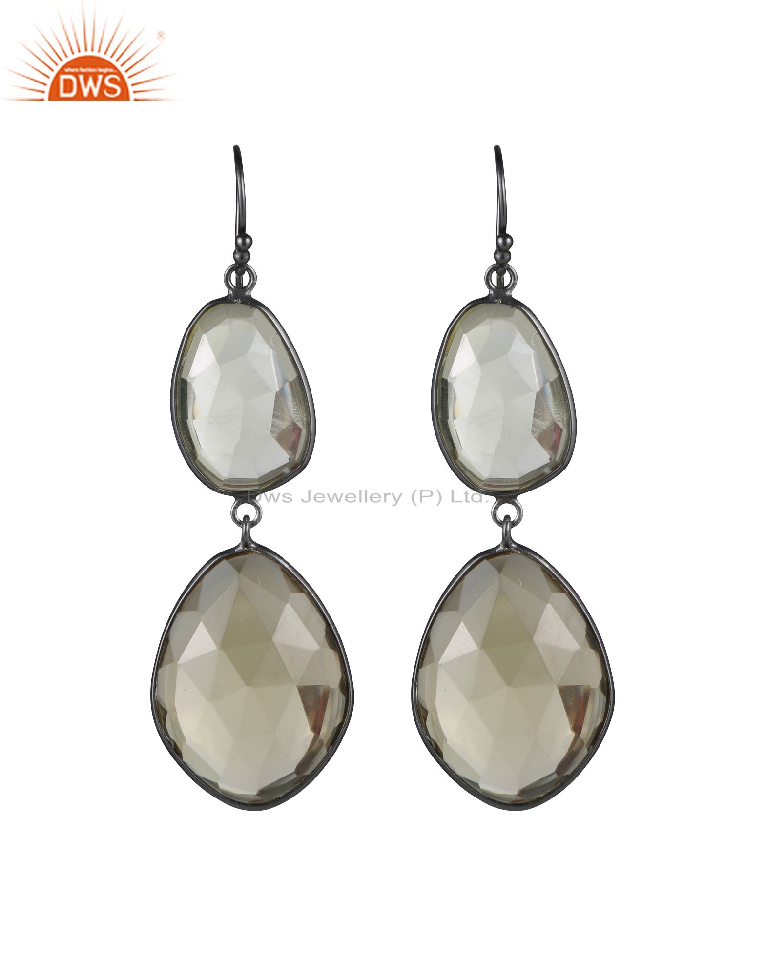 925 Sterling Silver With Oxidized Lemon Topaz Bezel Set Double Dangle Earrings