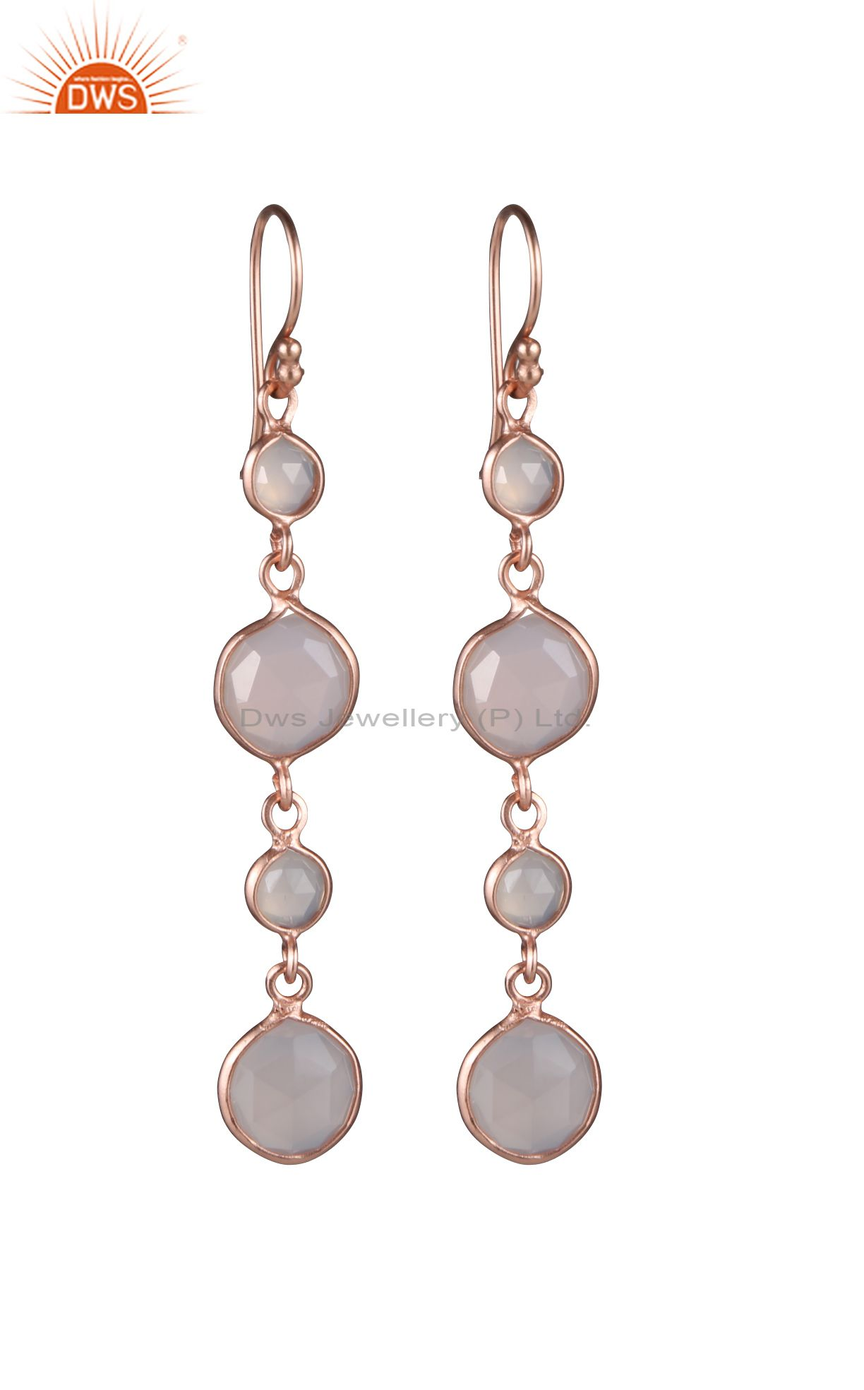 18K Rose Gold Plated Sterling Silver Rose Chalcedony Bezel Set Dangle Earrings