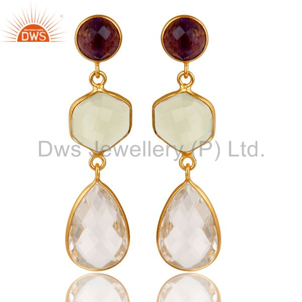 18K Yellow Gold Plated Sterling Silver Amethyst & Crystal Quartz Dangle Earrings
