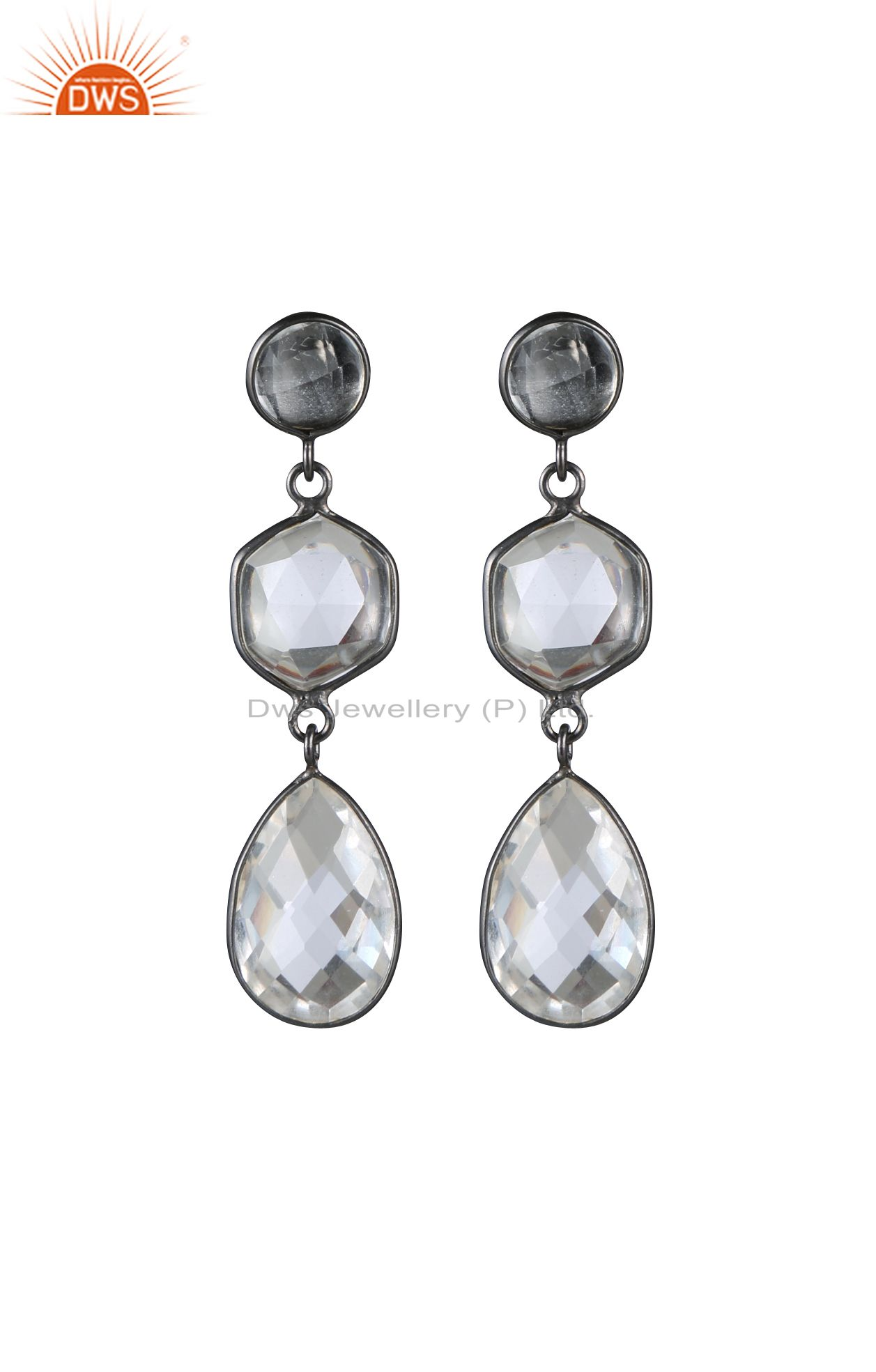 Oxidized Solid Sterling Silver Triple Crystal Quartz Bezel Set Drop Earrings