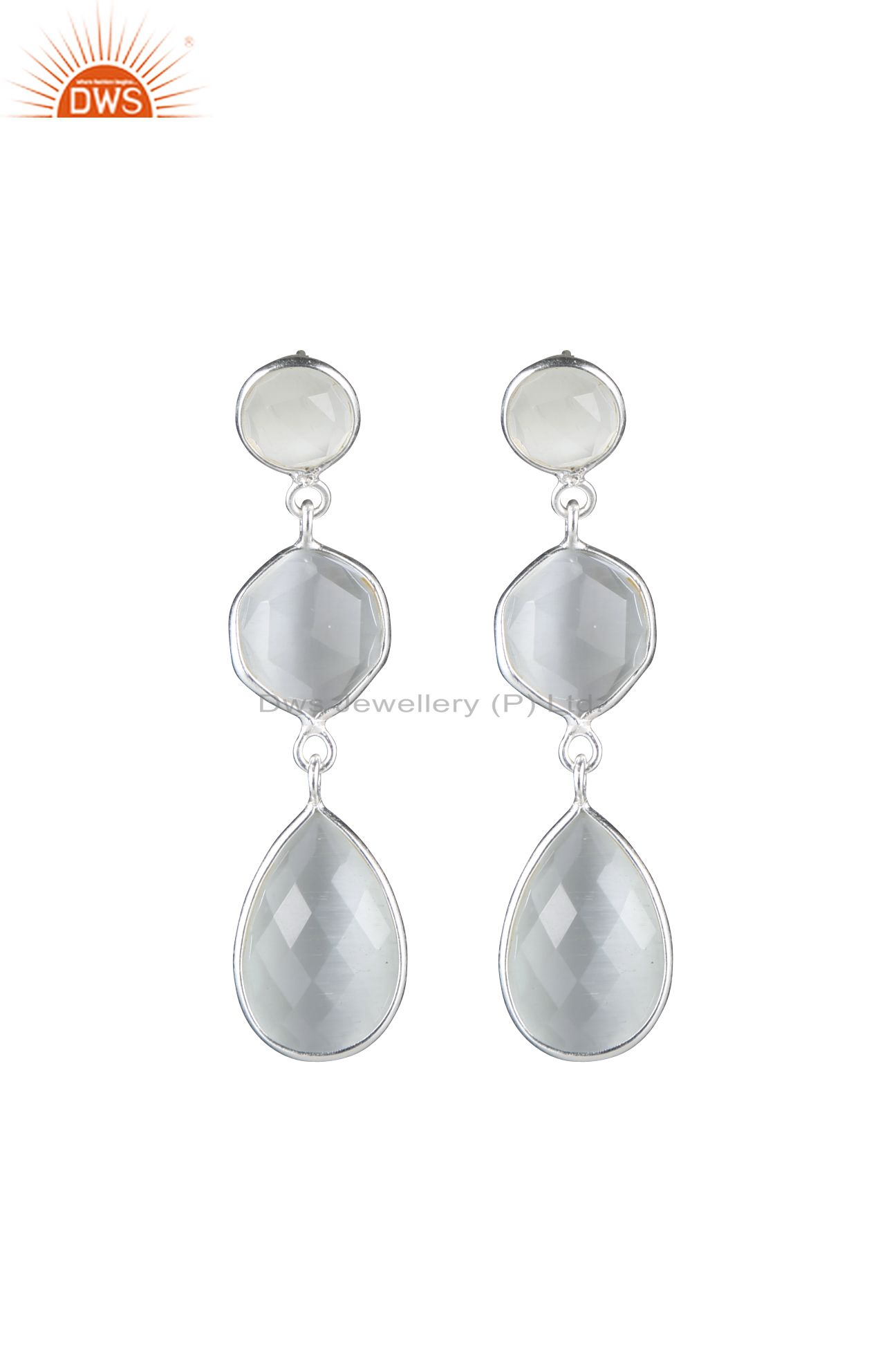 925 Sterling Silver White Moonstone Bezel Set Triple Gemstone Dangle Earrings