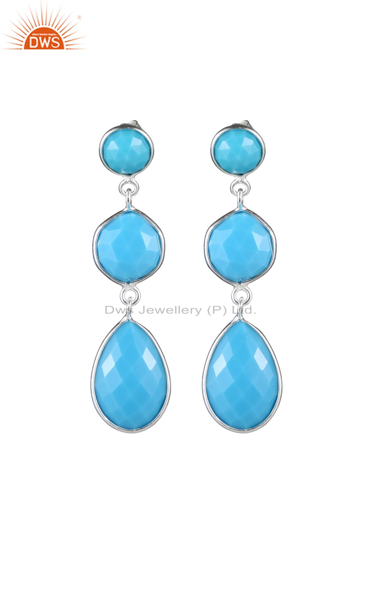 925 Sterling Silver Faceted Turquoise Bezel Set Triple Gemstone Dangle Earrings