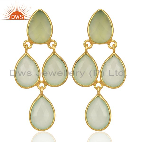 Aqua Chalcedony Dangle 14K Gold Plated Sterling Silver Earrings Jewelry