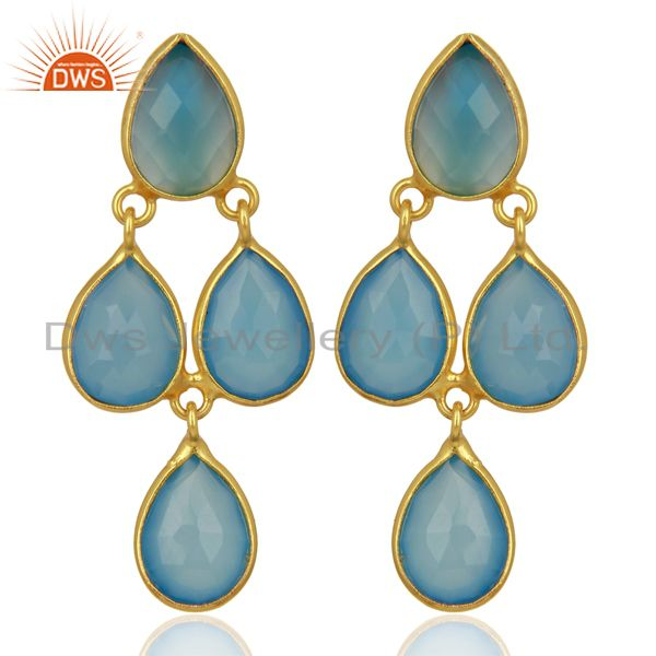 Blue Chalcedony Drop 18K Gold Plated 925 Sterling Silver Earrings Jewelry