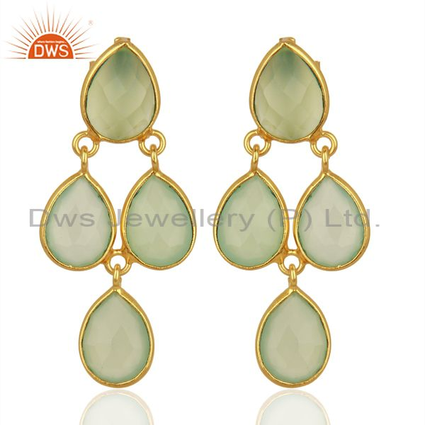 Prehnite Chalcedony Gemstone Gold Plated Silver Earrings Jewelry