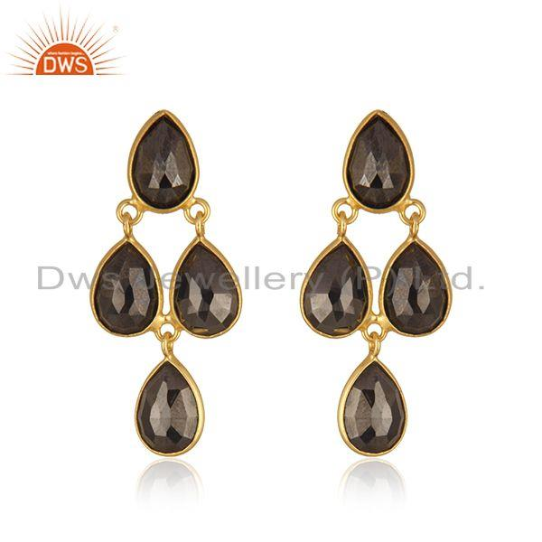 Hematite Gemstone Gold Plated 925 Silver Earring Manufacturer in India