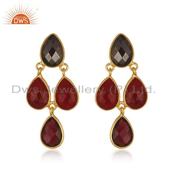 Garnet Gemstone Gold Plated 925 Silver Earring Manufacturer in Jaipur