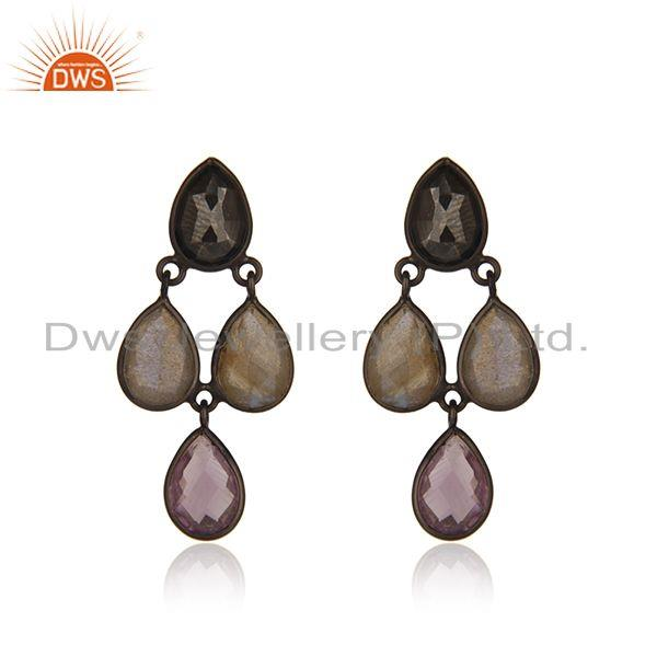 Multi Gemstone Black Rhodium Plated Sterling Silver Earrings Suppliers india