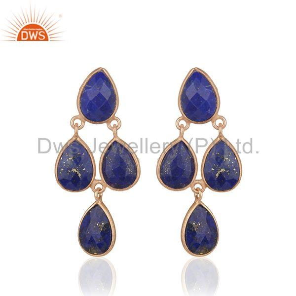 Lapis Lazuli Gemstone Rose Gold Plated Sterling Silver Earrings Manufacturer