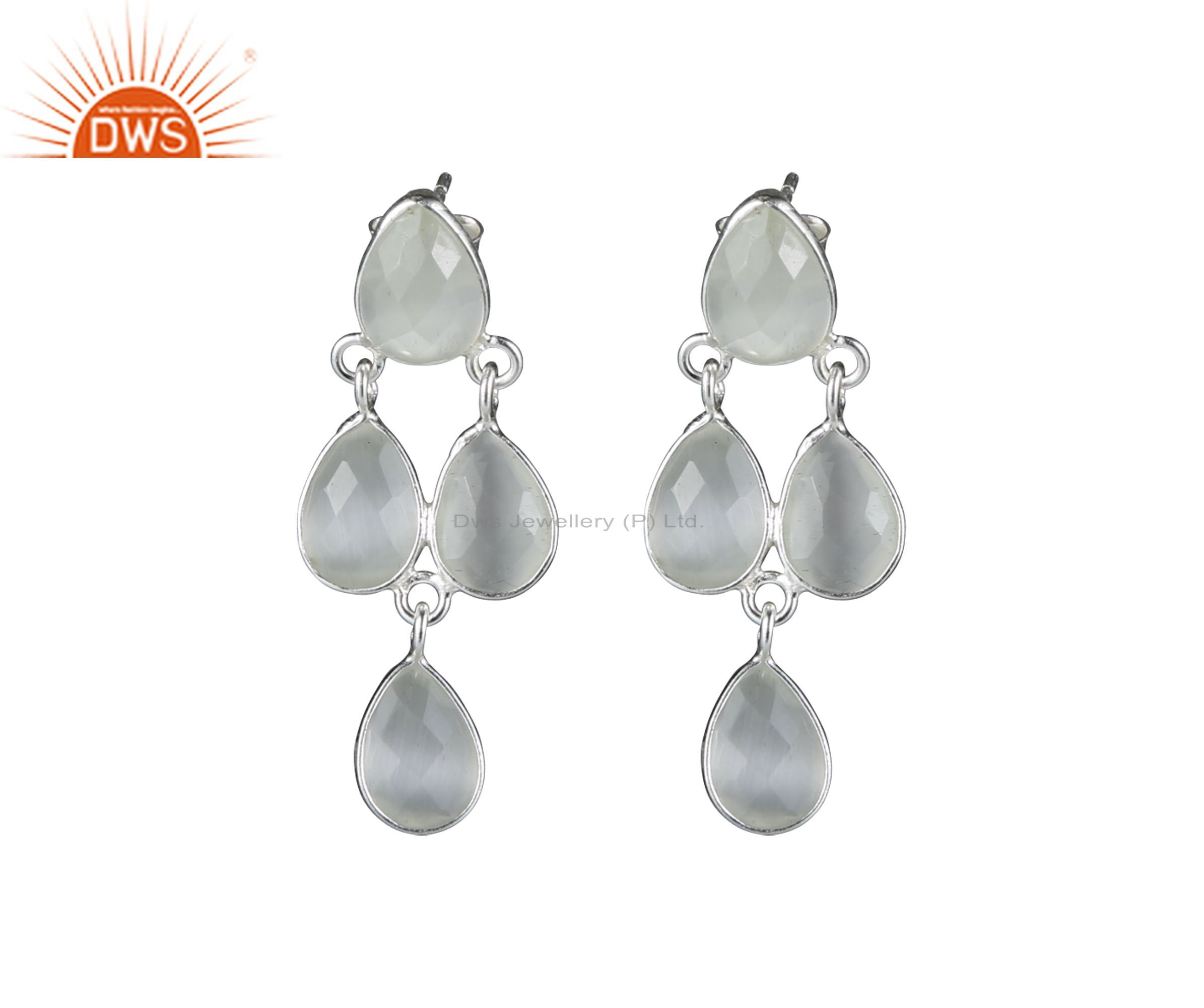 925 Sterling Silver White Moonstone Bezel Set Post Stud Dangle Earrings