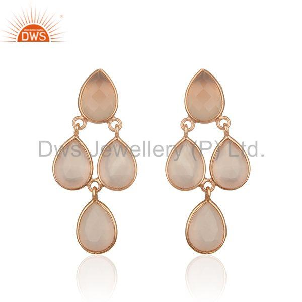Rose Gold Plated 925 Silver Rose Chalcedony Gemstone Handmade Earring Supplier