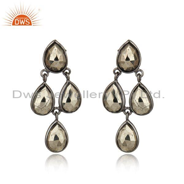 Black Rhodium on Silver 925 Pyrite Bezel Set Dangle Earrings