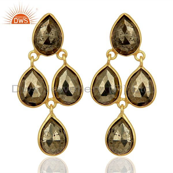 Pyrite Drop 18K Yellow Gold Plated 925 Sterling Silver Earrings Jewelry