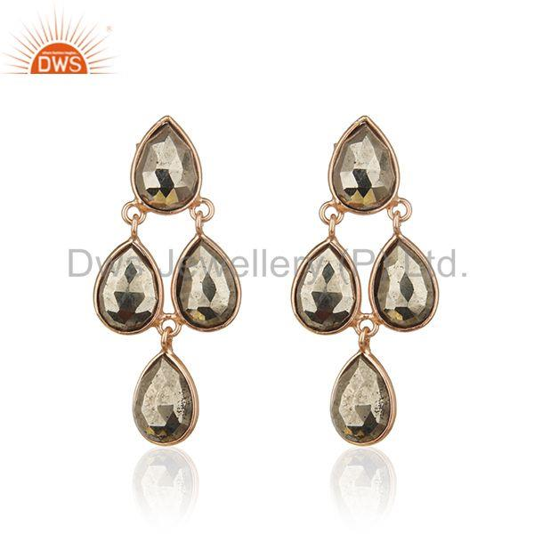 14k Rose Gold Sterling Silver Pyrite Gemstone Designer Earring Wholesale