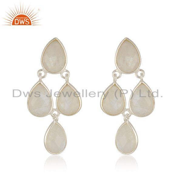 Rainbow Moonstone Fine Sterling Silver Earring Manufacturer in India