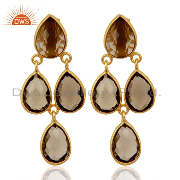 Smoky Quartz Drop 18K Yellow Gold Plated 925 Sterling Silver Earrings Jewelry