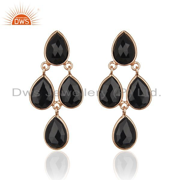 18K Rose Gold Sterling Silver Black Onyx Gemstone Teardrop Dangle Earrings
