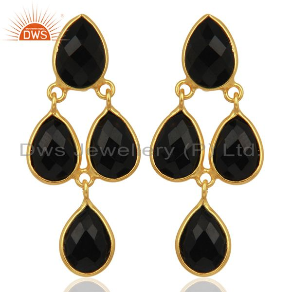 Black Onyx Gemstone Teardrop Sterling Silver Rose Gold Plated Chandelier Earring
