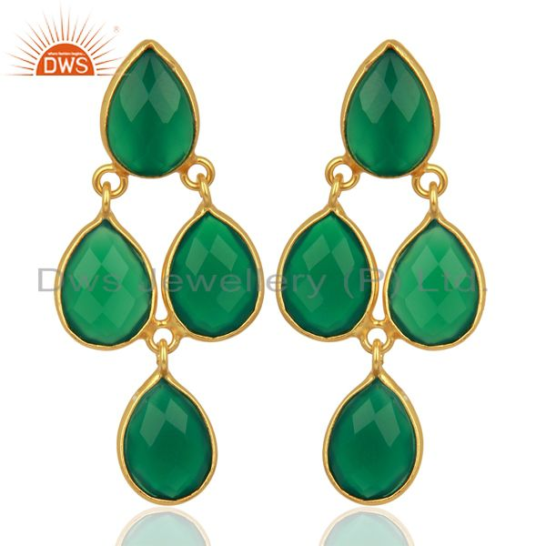 Green Onyx Dangle 18K Gold Plated 925 Sterling Silver Earrings Jewelry