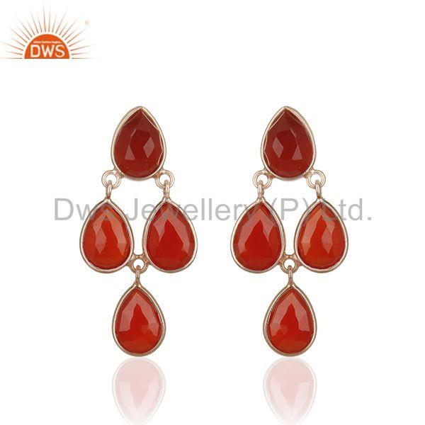 Red Onyx Gemstone Rose Gold Plated 925 Silver Drop Earrings Manufacturer