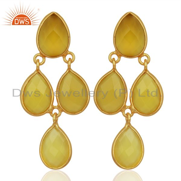 Yellow Chalcedony Dangle 18K Gold Plated 925 Sterling Silver Earrings Jewelry
