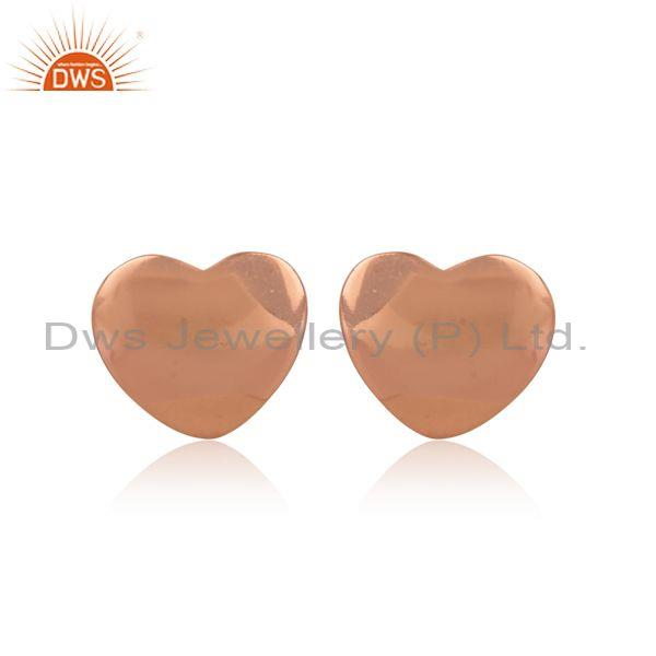Rose Gold On Sterling Silver Handmade Heart Shaped Earrings