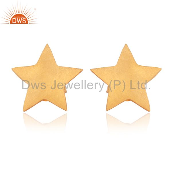 Solid Sterling Silver Yellow Gold Plated Flat Star Womens Stud Earrings