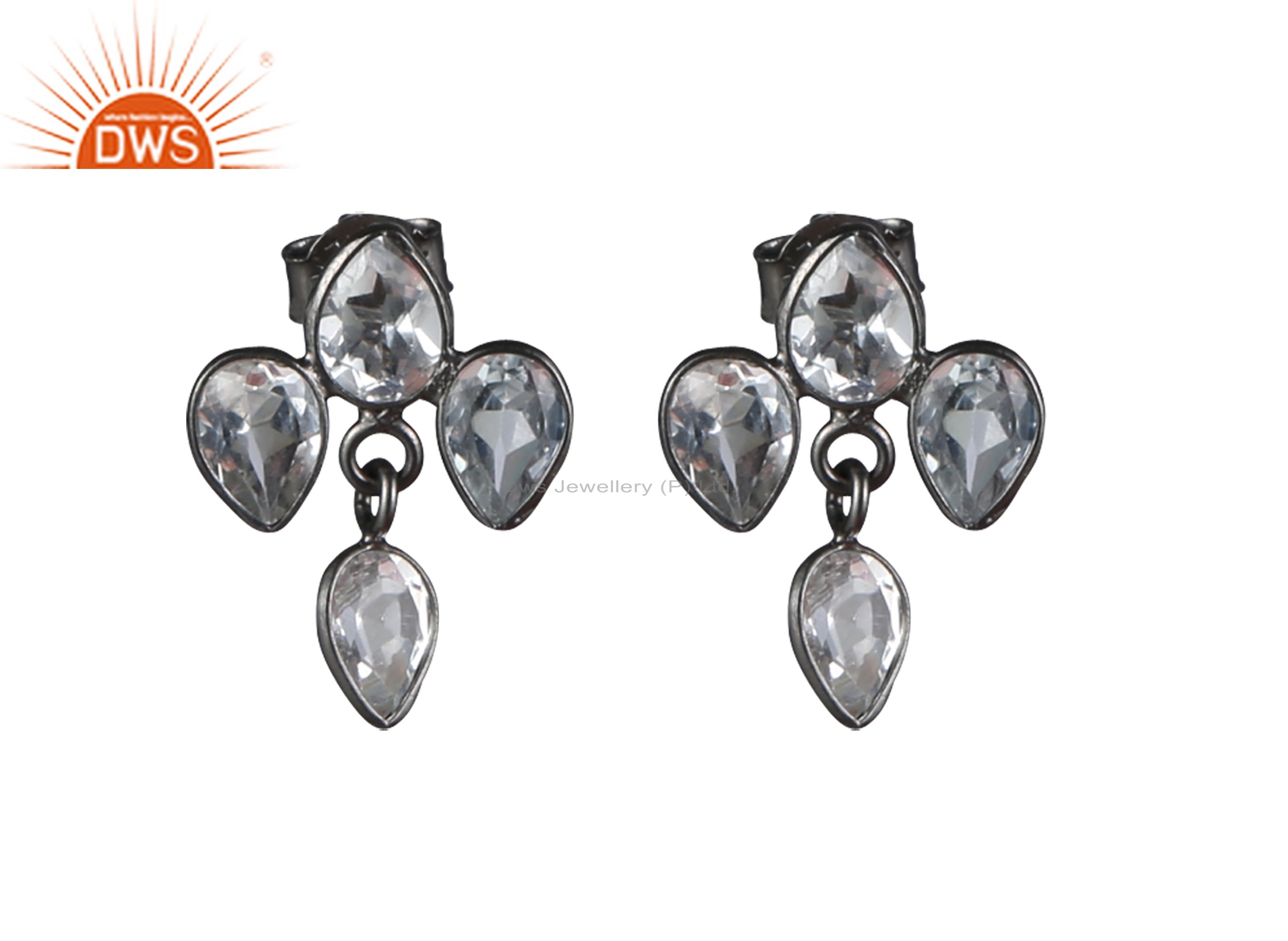 925 Sterling Silver With Oxidized Crystal Quartz Bezel Set Dangle Earrings