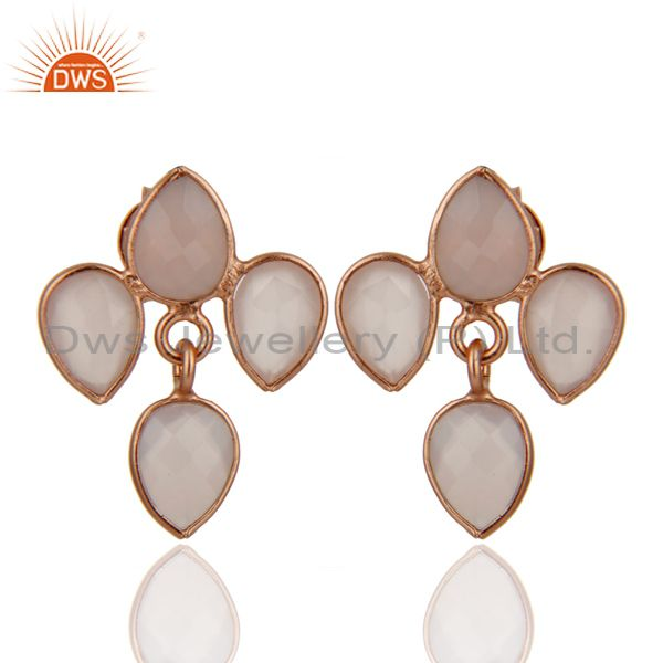 18K Rose Gold Plated Sterling Silver Rose Chalcedony Drop Dangle Earrings