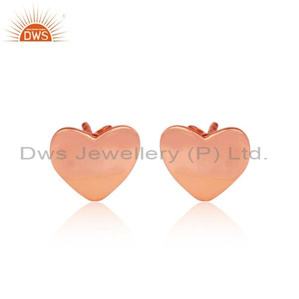 Heart shaped classic rose gold on sterling silver earrings