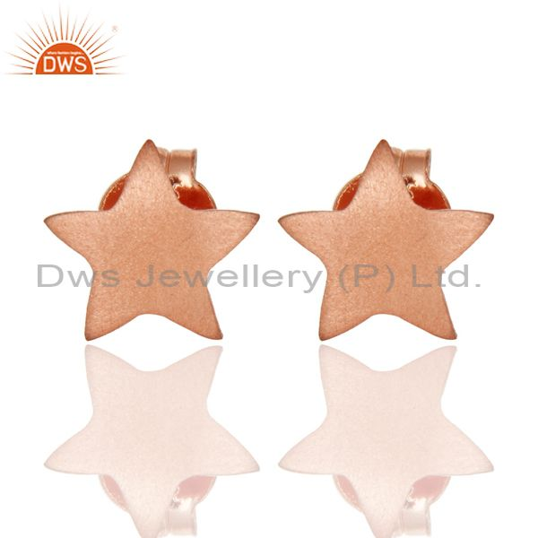 Star Shaped 925 Sterling Silver Rose Gold Plated Stud Earrings Jewelry