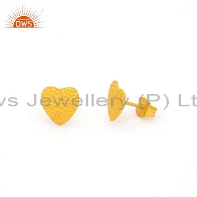 18K Yellow Gold Plated Sterling Silver Hammered Heart Stud Earrings