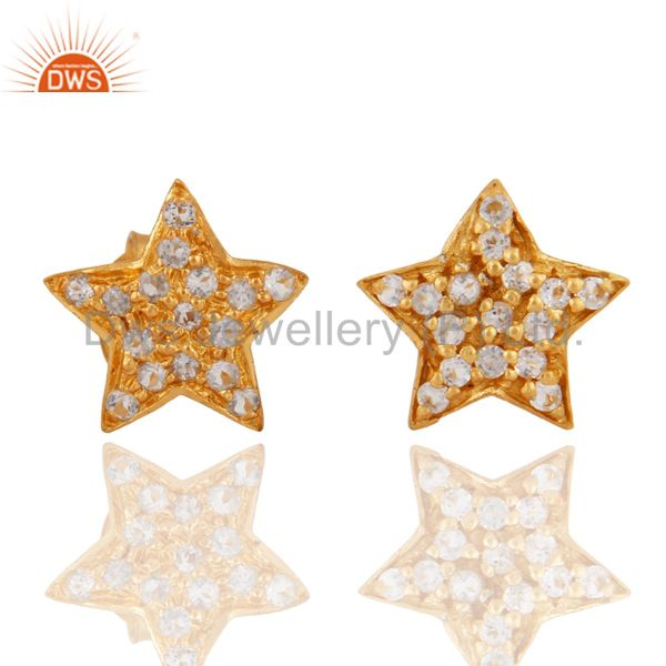 Solid Sterling Silver 18K Yellow Gold Plated White Topaz Star Stud Earring