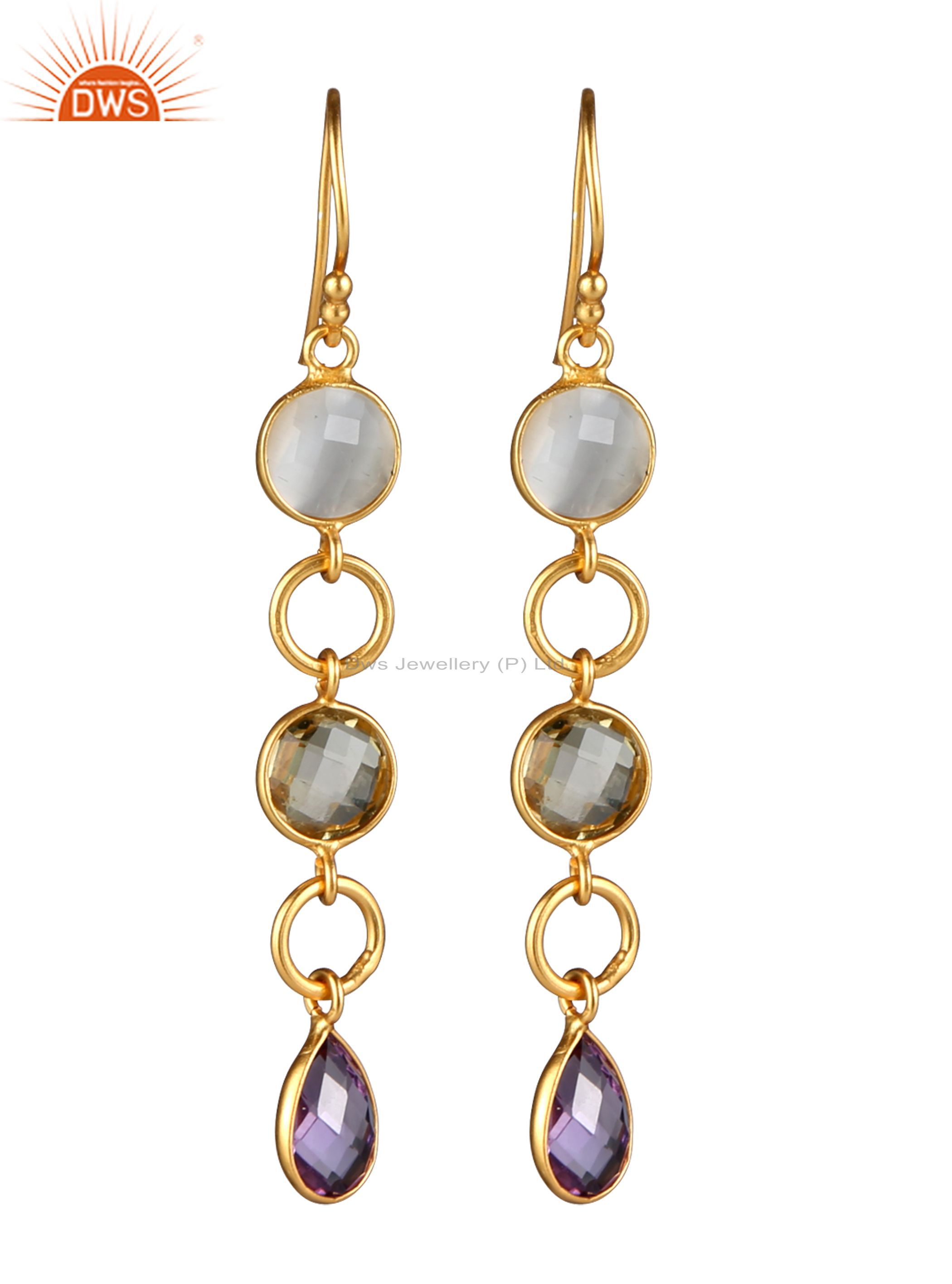 18K Yellow Gold Plated Sterling Silver Lemon Topaz And Amethyst Chain Earrings