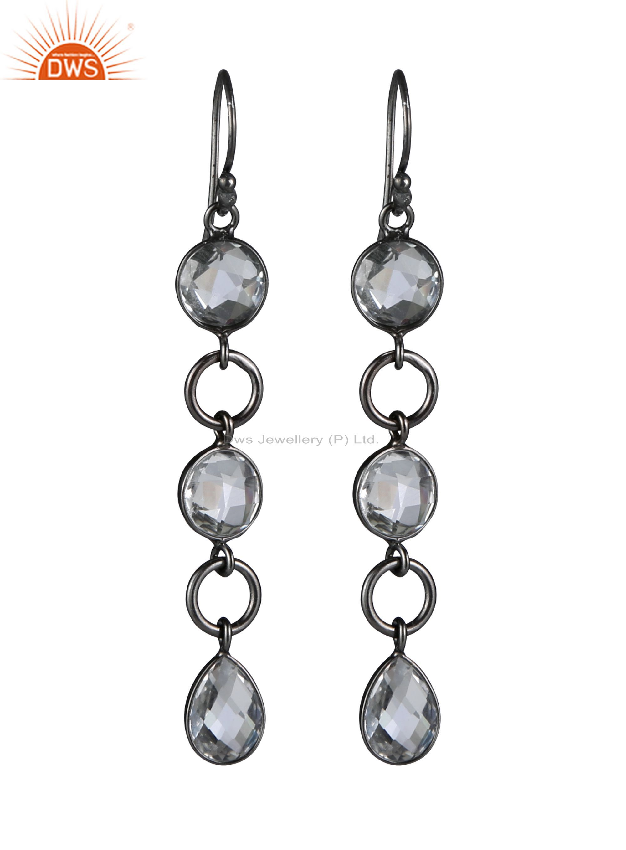 Oxidized Sterling Silver Crystal Quartz Bezel Set Link Dangle Earrings