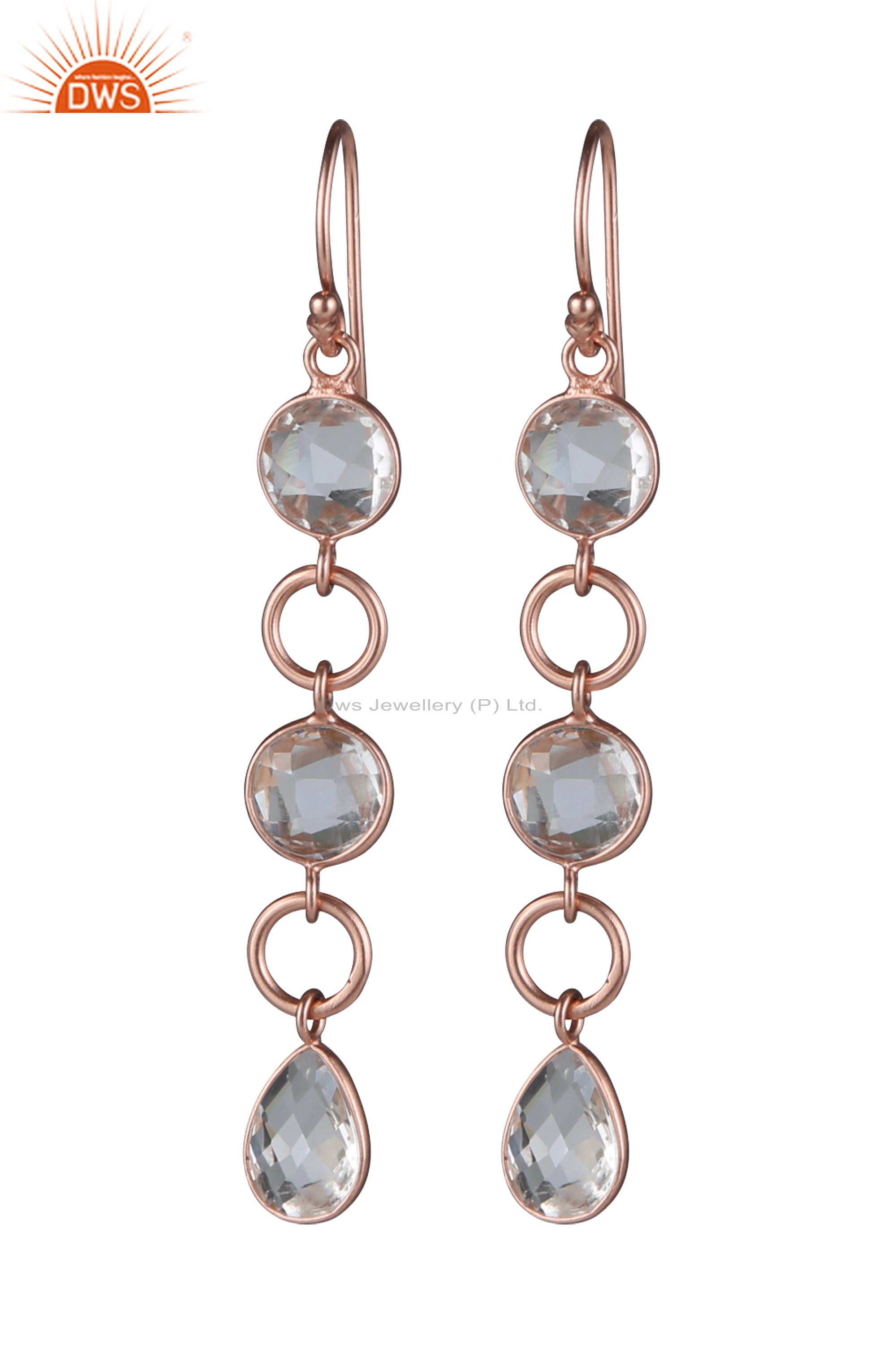18K Rose Gold Plated Sterling Silver Crystal Quartz Gemstone Dangle Earrings