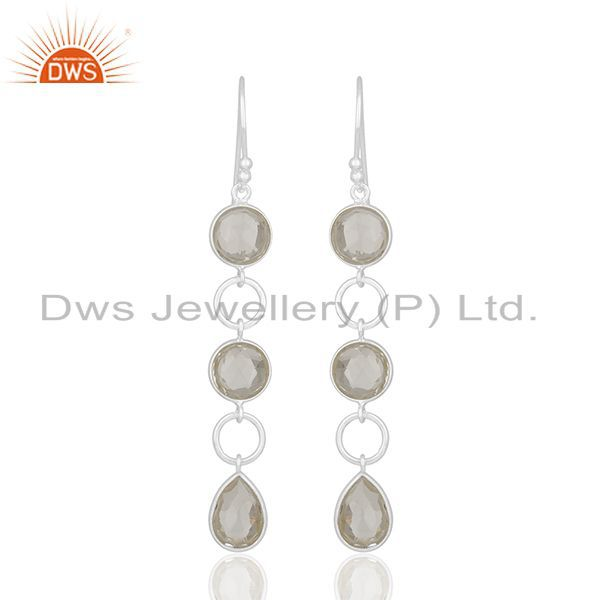 Solid 92.5 Sterling Silver Crystal Quartz Dangle Earring Manufacturers