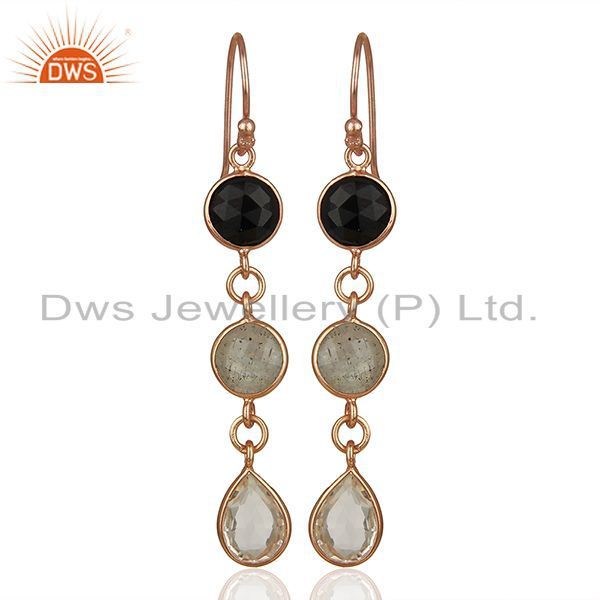 18K Rose Gold Plated Silver Crystal Quartz And Labradorite Dangle Earrings
