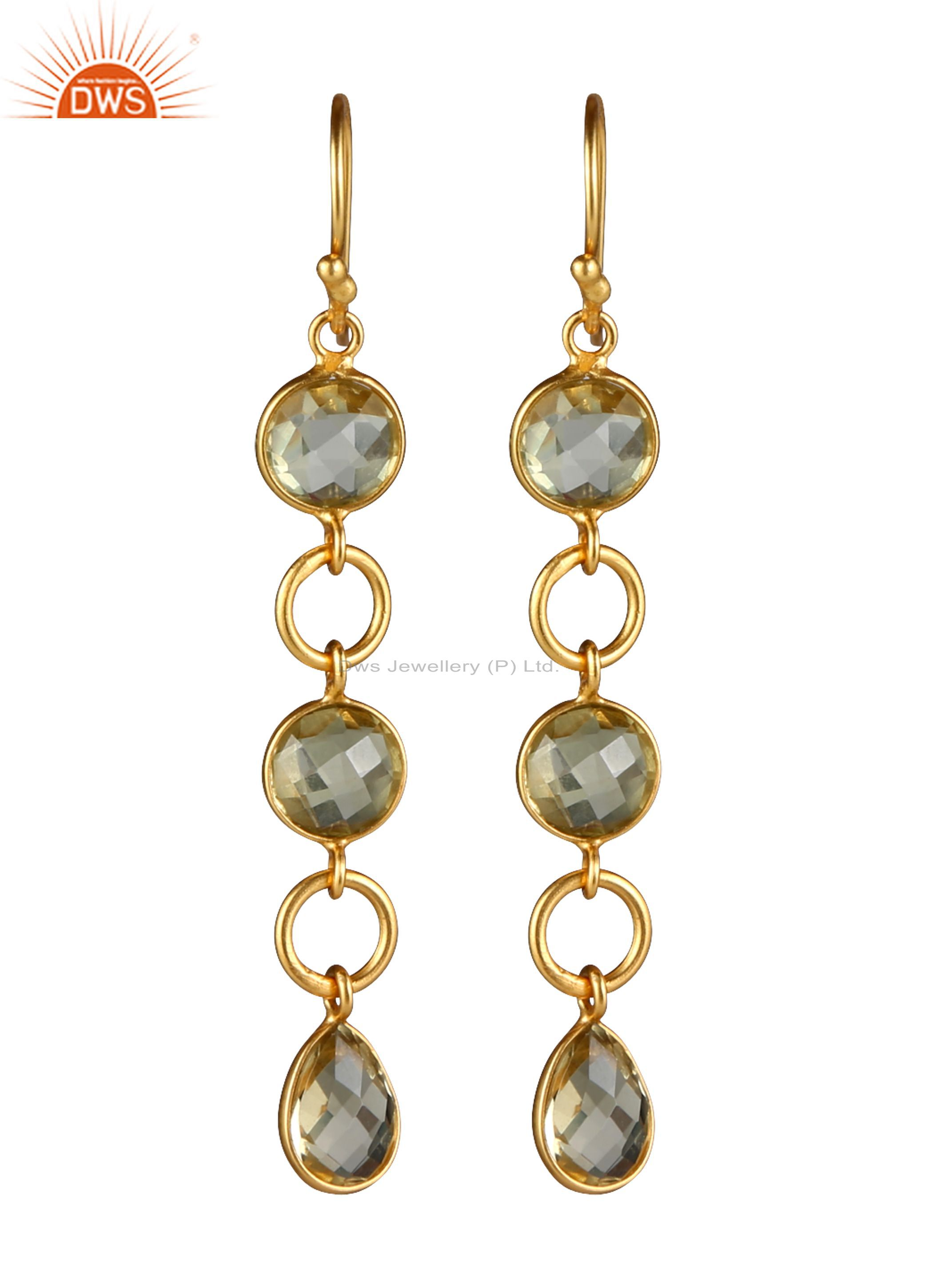 14K Yellow Gold Plated Sterling Silver Lemon Topaz Circle Dangle Earrings