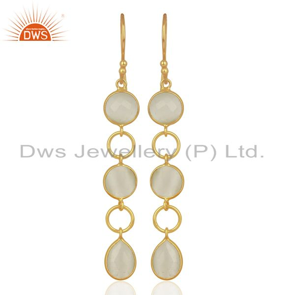 18K Yellow Gold Plated Sterling Silver White Moonstone Circle Dangle Earrings