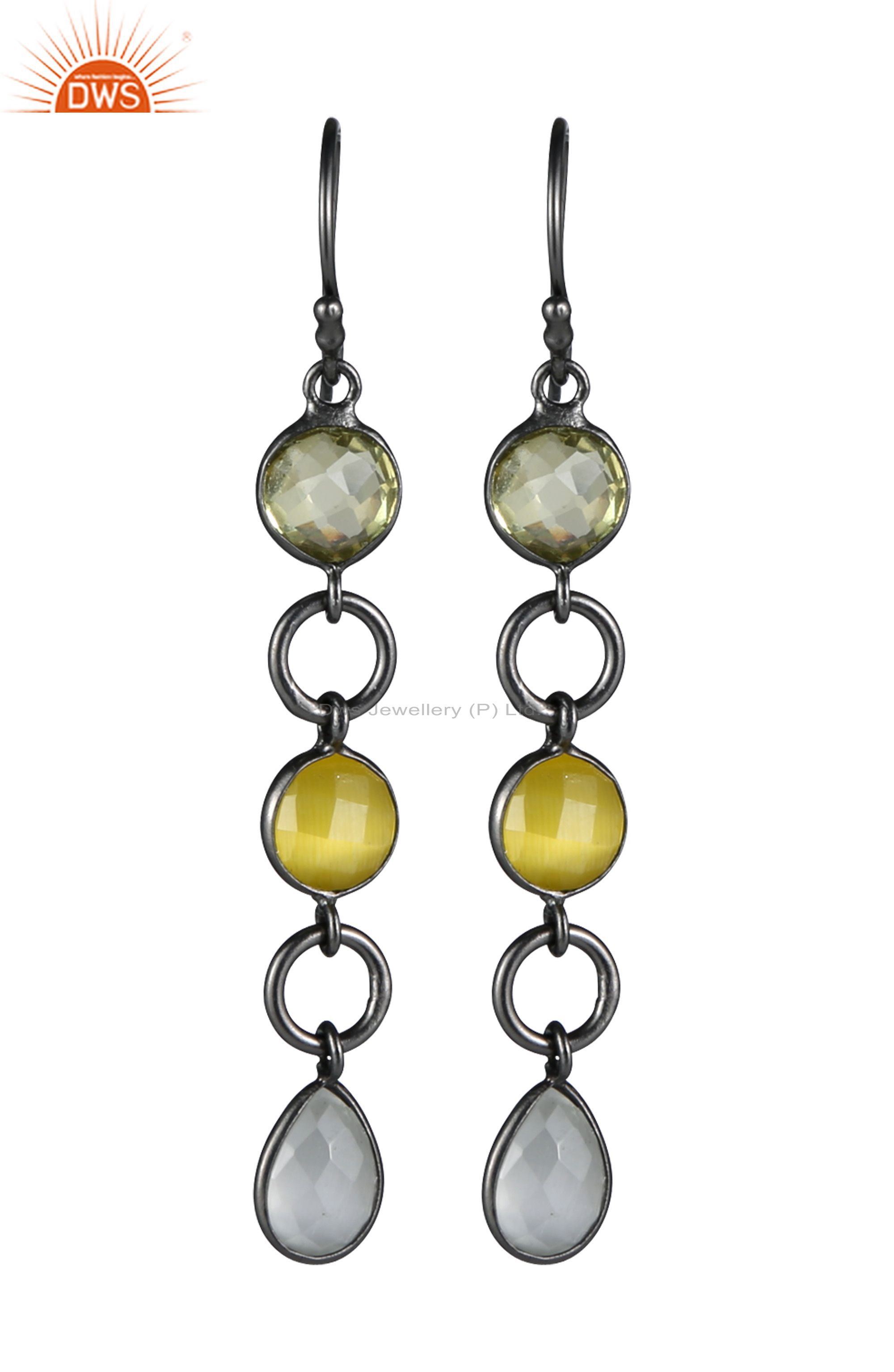Oxidized Sterling Silver White Moonstone & Lemon Topaz Bezel Set Dangle Earrings
