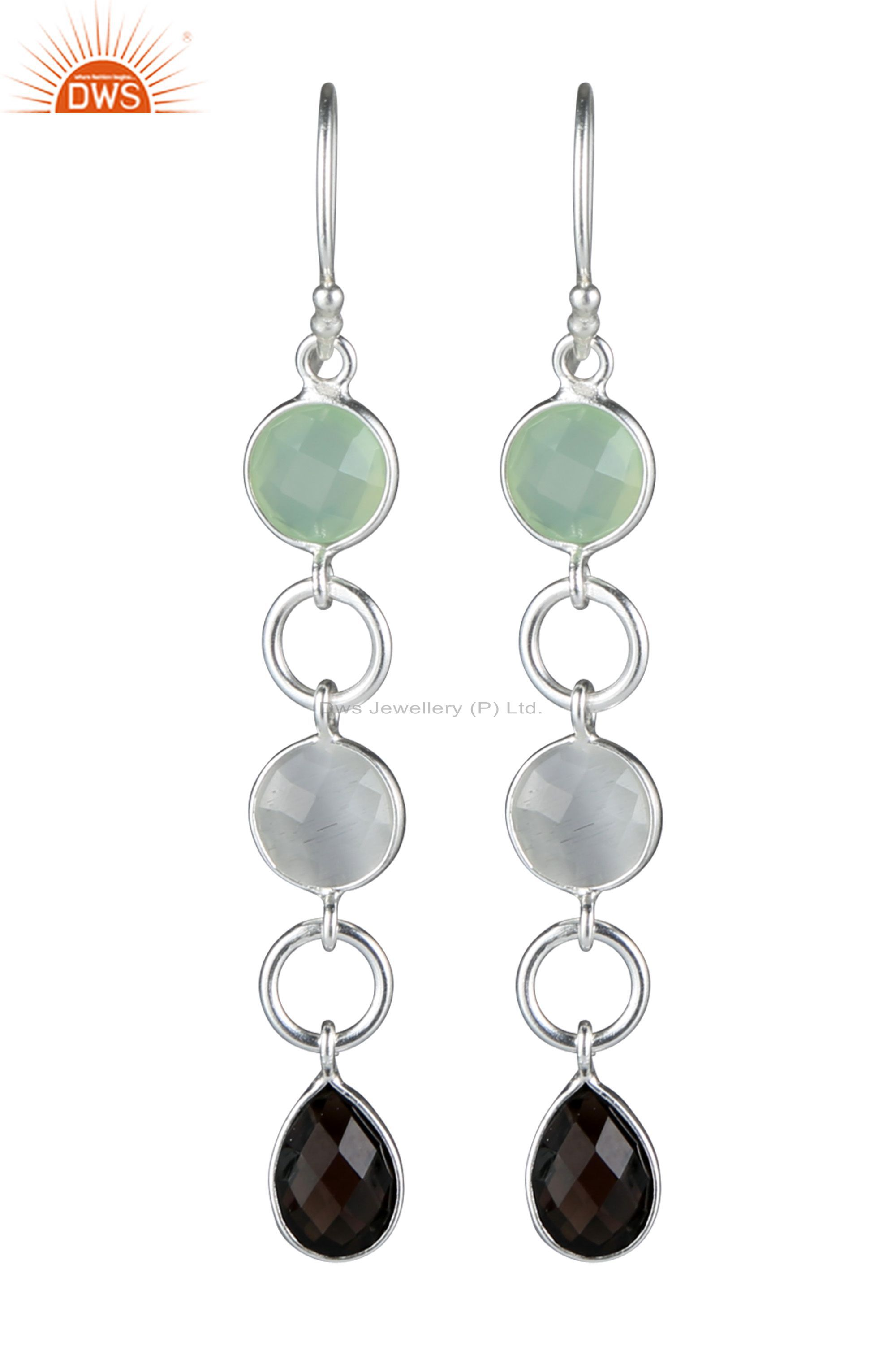925 Sterling Silver Smoky Quartz, Chalcedony And White Moonstone Earrings