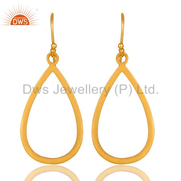 18K Yellow Gold Plated Sterling Silver Cutout Drop Earrings