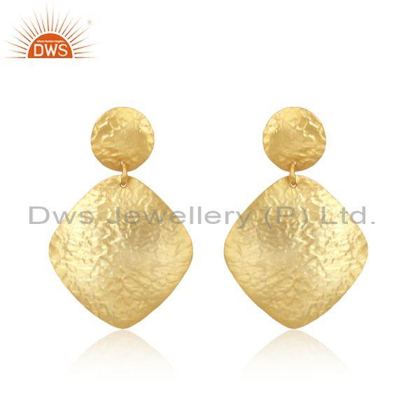 Handtextured Design Yellow Gold on Fashion Plain Dangle Earring
