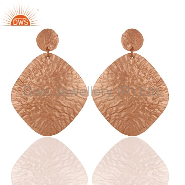 18K Rose Gold Plated Sterling Silver Handmade Dangling Flake Drop Earrings