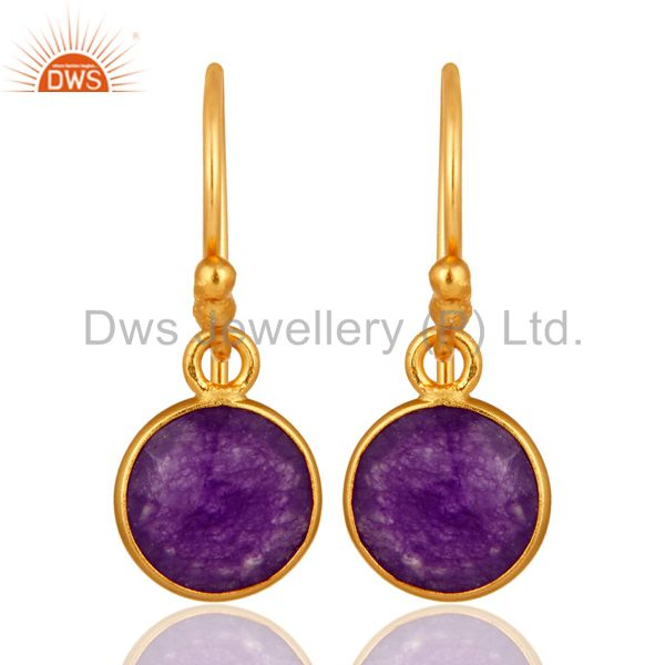 18K Gold Over Sterling Silver Bezel-Set Purple Chalcedony Drop Hook Earrings
