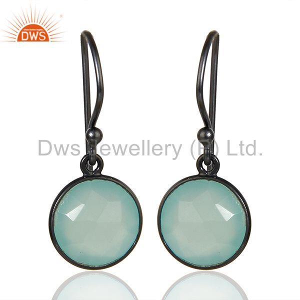Black Rhodium Plated 925 Silver Aqua Chalcedony Gemstone Earrings